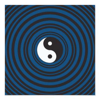 Yin Yang Symbol Blue Concentric Circles Ripples 13 Cm X 13 Cm Square Invitation Card