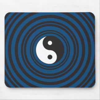 Yin Yang Symbol Blue Concentric Circles Ripples Mouse Mat
