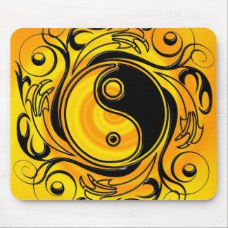 Yin & Yang Symbol Gold Mouse Pad