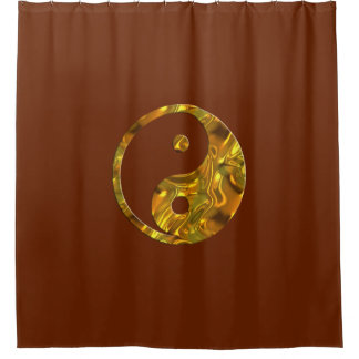 Yin & Yang Symbol gold + your backgr. & ideas Shower Curtain