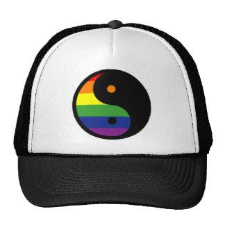 Yin-Yang-Symbol-Rainbow Mesh Hats
