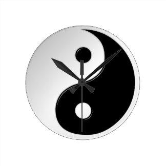 Yin Yang Symbol Round Wall Clock