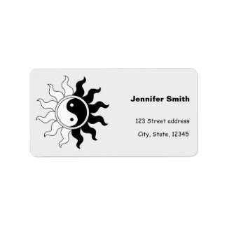 Yin Yang symbol sun Address Label