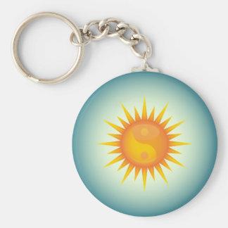 Yin yang symbol sun keychain with dark edges