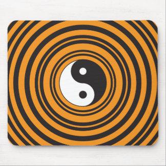 Yin Yang Taijitu Symbol Orange Black Circles Mouse Pad