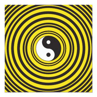 Yin Yang Taijitu symbol Yellow Black Ripples 13 Cm X 13 Cm Square Invitation Card