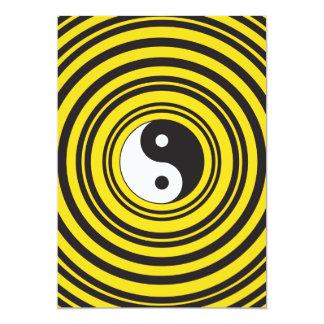 Yin Yang Taijitu symbol Yellow Black Ripples 13 Cm X 18 Cm Invitation Card