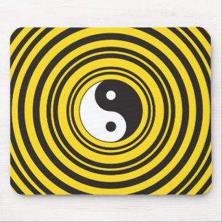 Yin Yang Taijitu symbol Yellow Black Ripples Mouse Pad