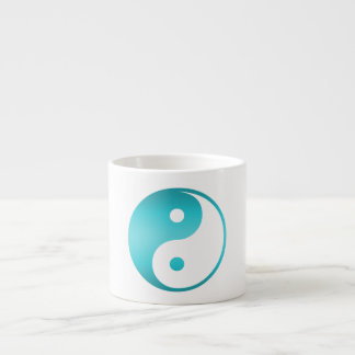 Yin Yang Teal Blue IllustrationTemplate Espresso Cup