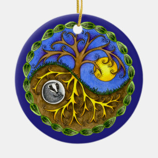 Yin & Yang Tree and Badger Round Ceramic Decoration