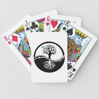 Yin Yang Tree Of Life Black & White Bicycle Playing Cards