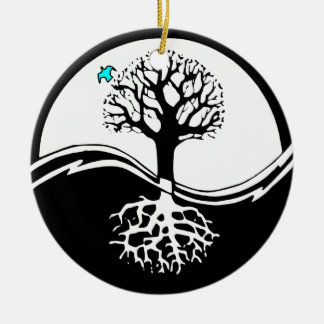 Yin Yang Tree Of Life Black & White Christmas Ornament