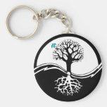 Yin Yang Tree Of Life Black & White Basic Round Button Key Ring