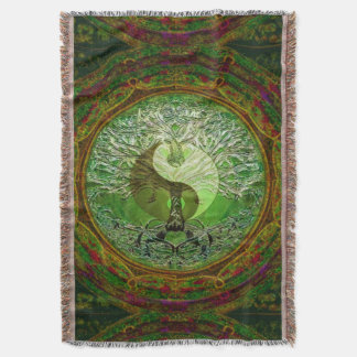 Yin Yang Tree of Life Green Throw Blanket