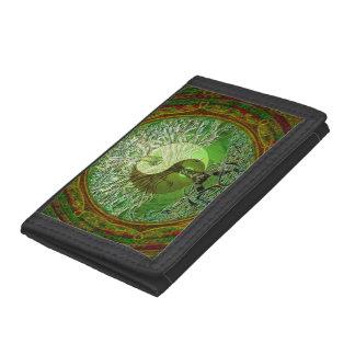 Yin Yang Tree of Life Green Tri-fold Wallets