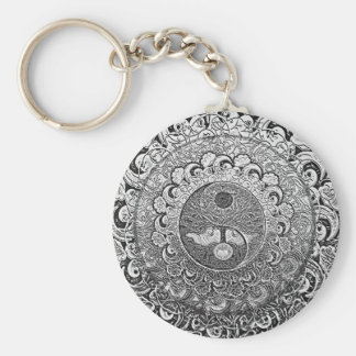 Yin Yang Tree of Life in Silver and Chrome Keychains