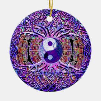 Yin Yang Tree of Life Round Ceramic Decoration