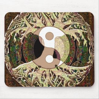 Yin Yang Tree of Life Tan Mouse Pad