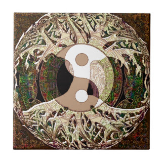 Yin Yang Tree of Life Tan Small Square Tile