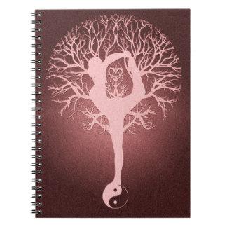 Yin yang, tree of life, yoga, harmony spiral note book