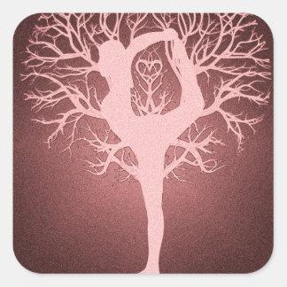 Yin yang, tree of life, yoga, harmony square sticker