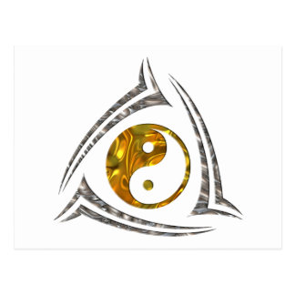 Yin & Yang / Tribal - gold silver Postcard