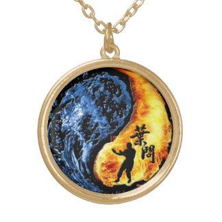 """Yin Yang - Wing Chun """"Kung Fu"""" Ip Man Linage Gold Plated Necklace"""