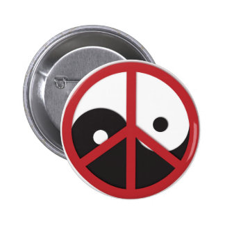 Yin-Yang with Peace sign - red 6 Cm Round Badge