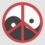 Yin-Yang with Peace sign - red Round Sticker