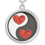 Yin Yang with red burning hearts Pendant
