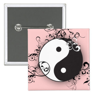Yin-Yang with scrolling 15 Cm Square Badge