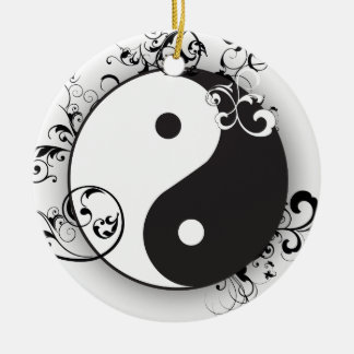 Yin & Yang with scrolls ornament black