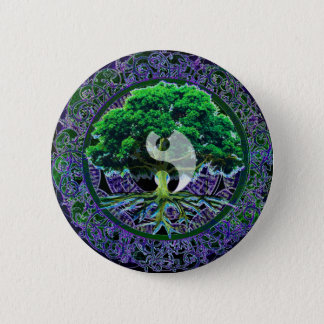 Yin Yang with Tree of Life 6 Cm Round Badge