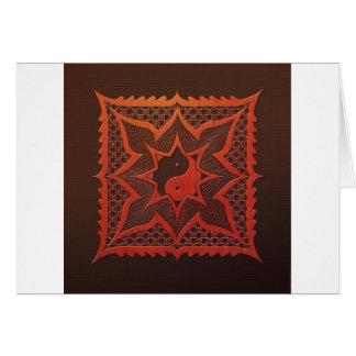 Yin Yang Woodcut Mandala Greeting Card