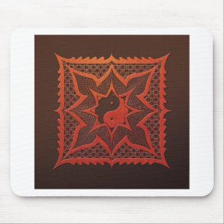 Yin Yang Woodcut Mandala Mouse Pad