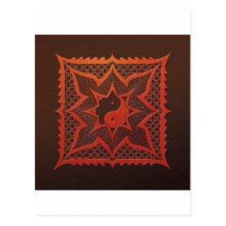 Yin Yang Woodcut Mandala Postcard