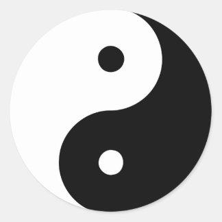 Yin Yang Ying Taoism Sign Chinese Taijitu Black Classic Round Sticker