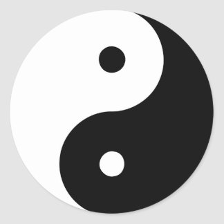 Yin Yang Ying Taoism Sign Chinese Taijitu Black Round Sticker