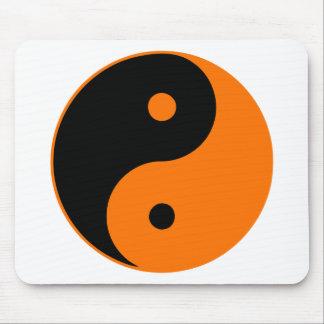 Yin Yang Ying Taoism Sign Chinese Taijitu Orange Mousepads