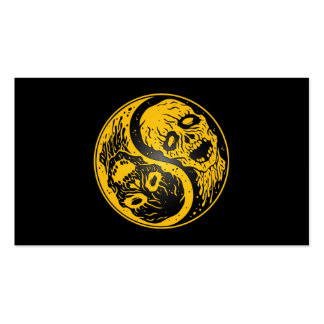 Yin Yang Zombies Yellow and Black Business Card Templates