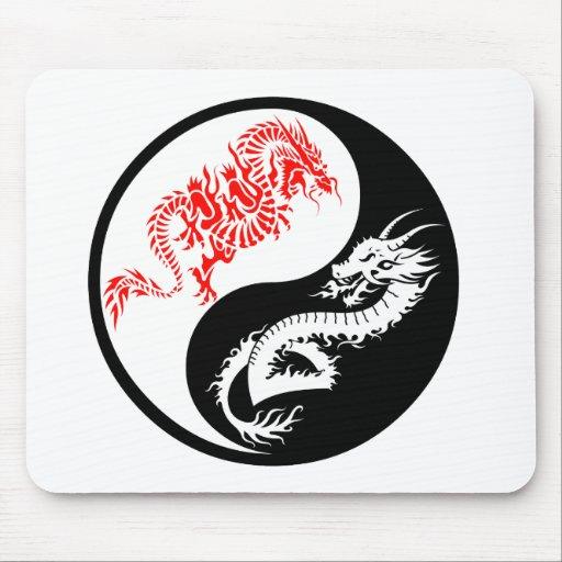 Ying and Yang Dragons Mouse Pad