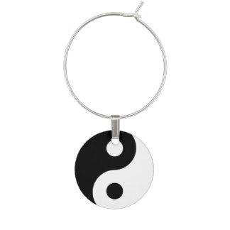 Ying Yang b/w Wine Glass Charm
