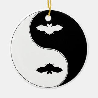 Ying Yang Bat Round Ceramic Decoration
