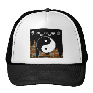 YING YANG BRICK BACKGROUND PRODUCTS TRUCKER HAT