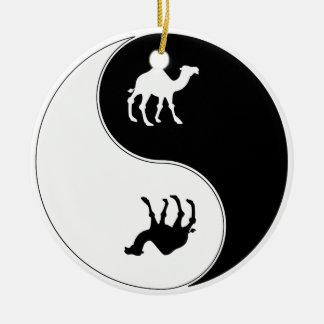 Ying Yang Camel Round Ceramic Decoration