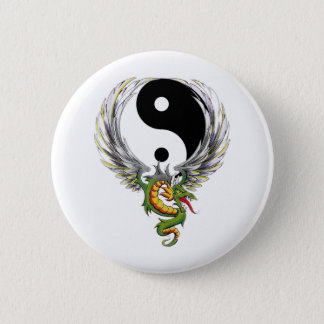 Ying Yang Dragon 6 Cm Round Badge