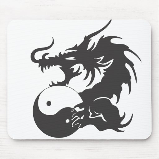 Ying Yang Dragon Mousepads