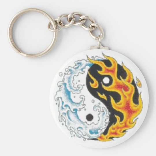 ying yang flame water keychain