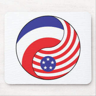 Ying Yang France America Mouse Pad