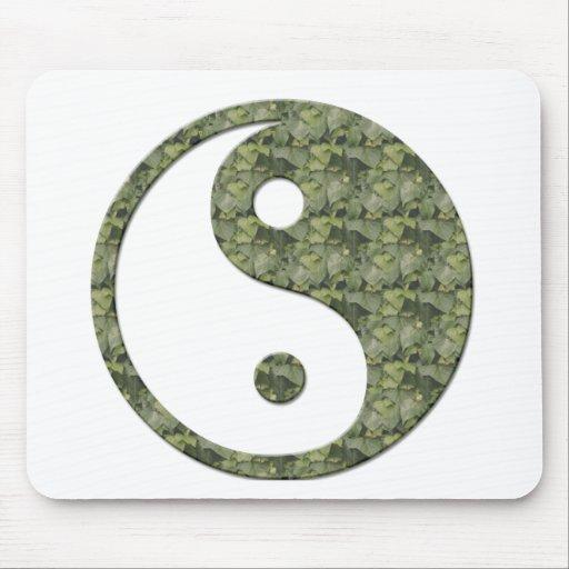 Ying Yang Green Leaves Mousepad